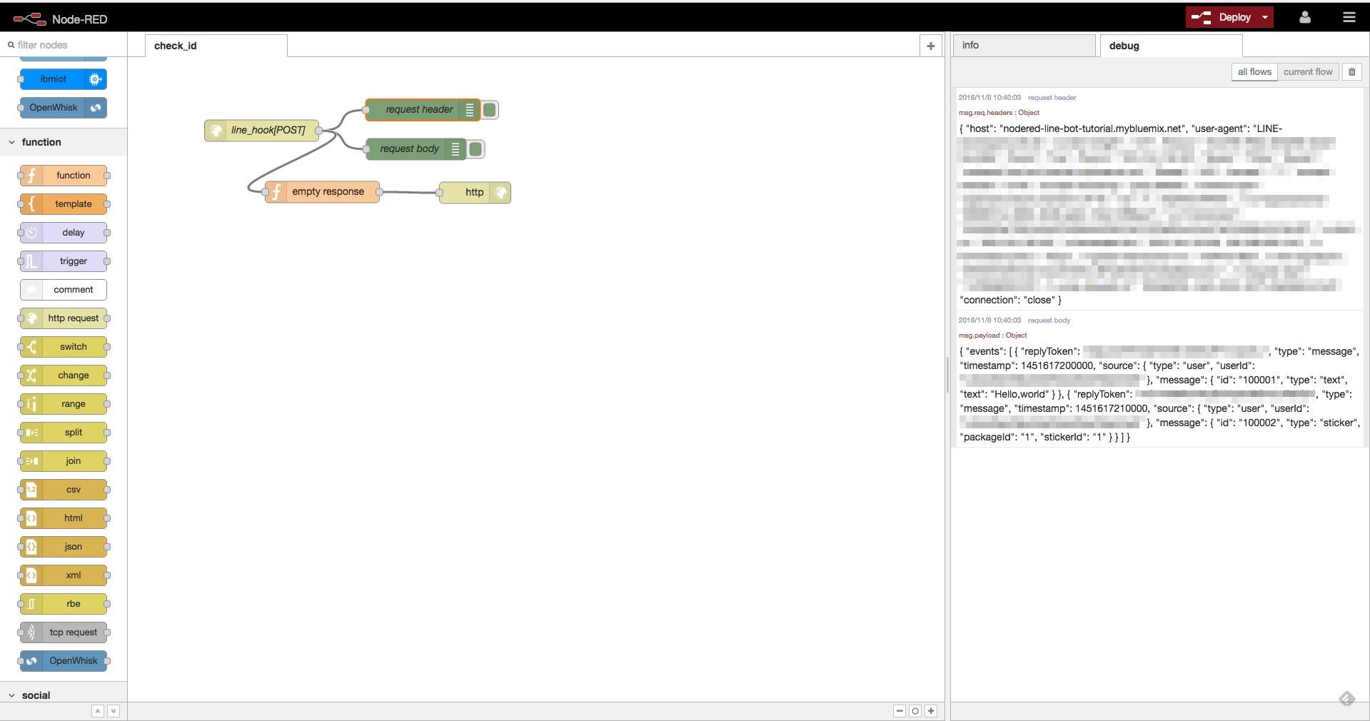 Node-REDでWebサーバのリクエストを監視する方法を説明する図