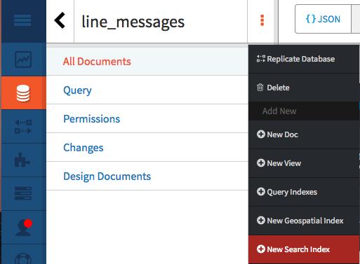 CloudantダッシュボードからSearch Indexを設定している図